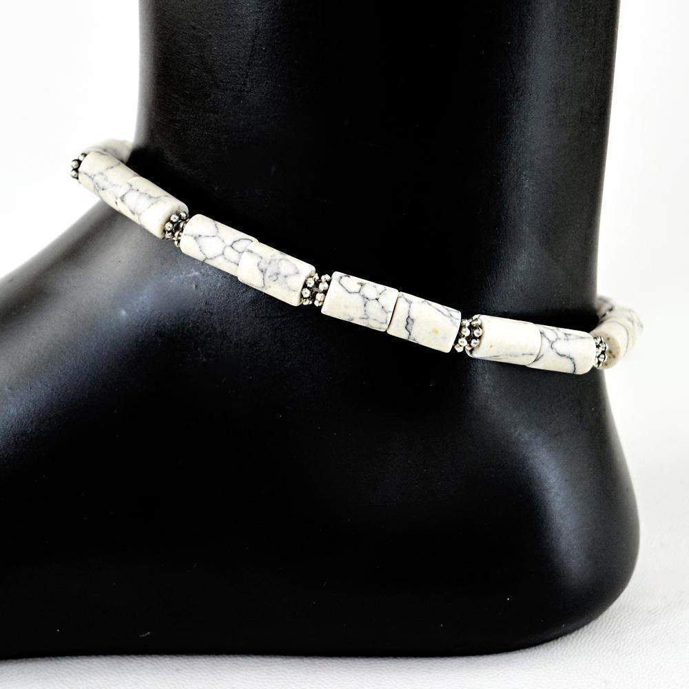 gemsmore:Natural Howlite Beads Anklet
