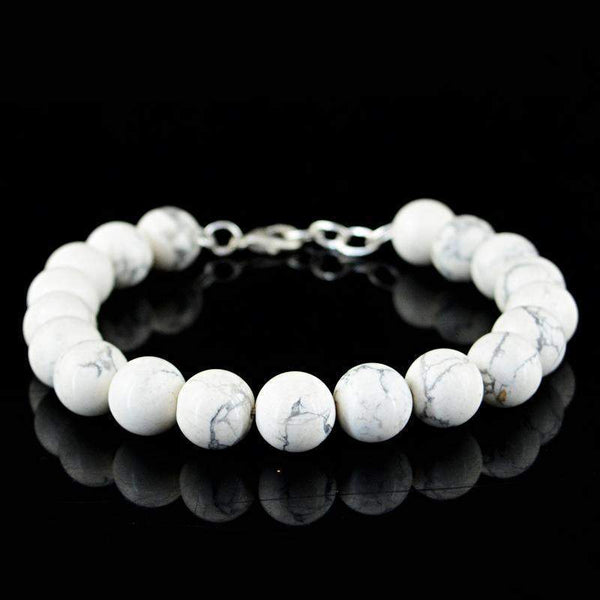 gemsmore:Natural Howlite Bracelet Round Shape Untreated Beads