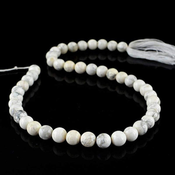 gemsmore:Natural Howlite Strand Untreated Round Shape Drilled Beads