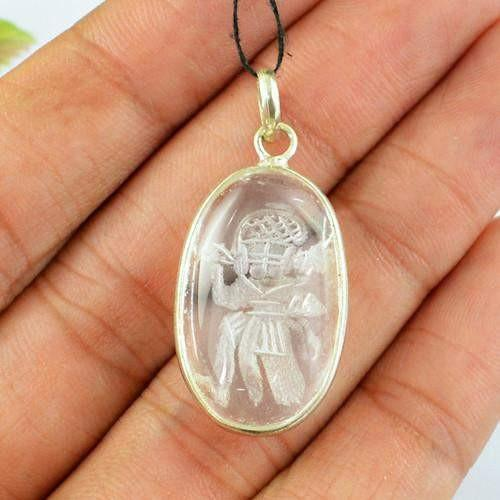 gemsmore:Natural Internal Carved Hanuman White Quartz Pendant