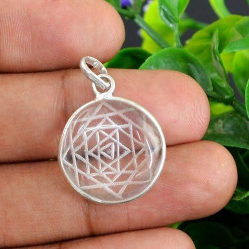 gemsmore:Natural Internal Carved Healing Chakra White Quartz Pendant