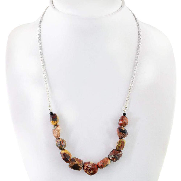 gemsmore:Natural Jasper Necklace Faceted Beads - Best Quality
