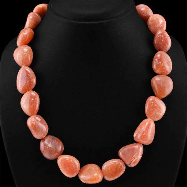 gemsmore:Natural Jasper Necklace Single Strand Untreated Beads