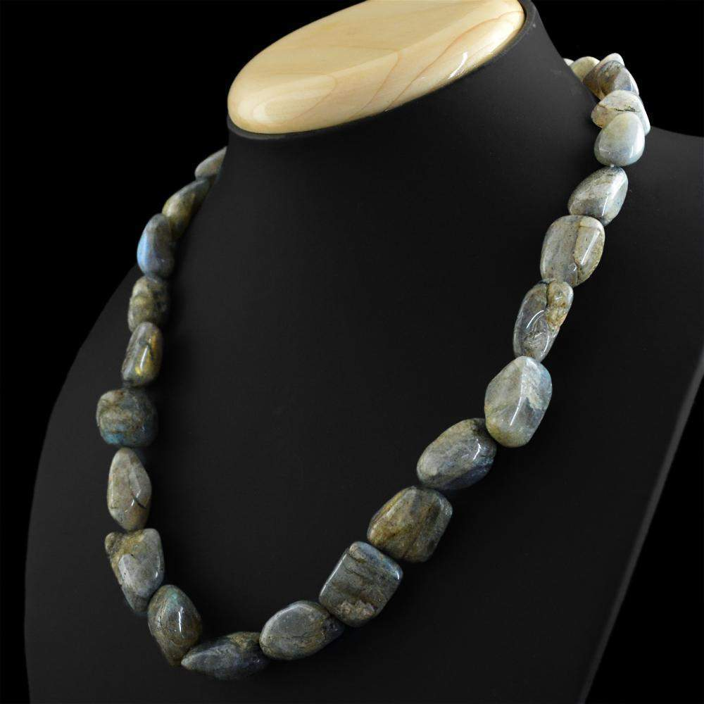 gemsmore:Natural Labradorite Necklace Single Strand Untreated Beads
