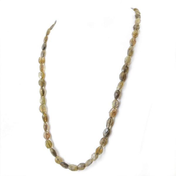 gemsmore:Natural Labradorite Necklace Untreated Faceted Beads
