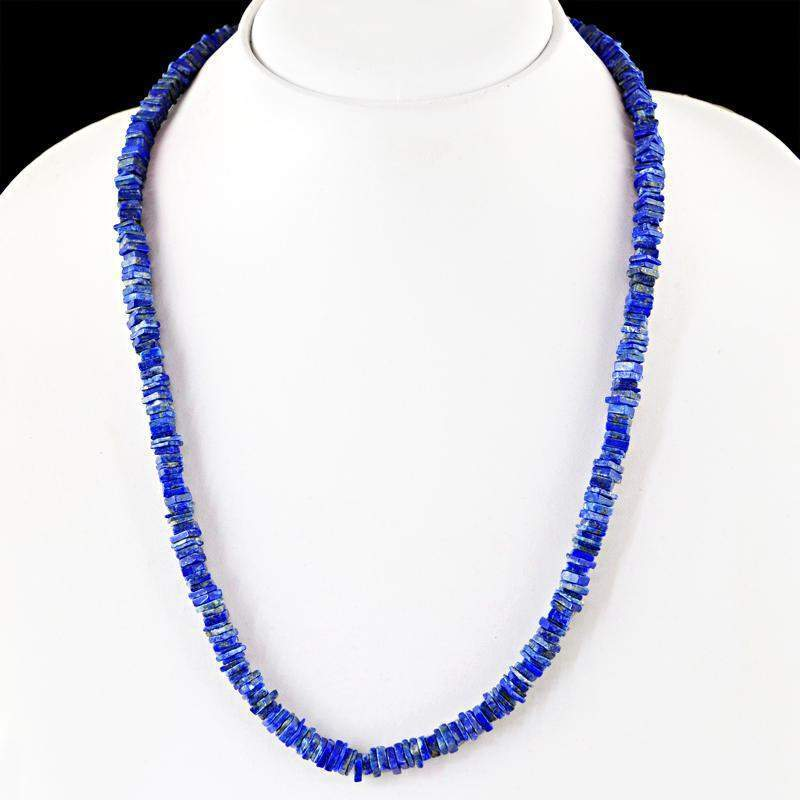 gemsmore:Natural Lapis Lazuli Necklace 20 Inches Long Untreated Beads