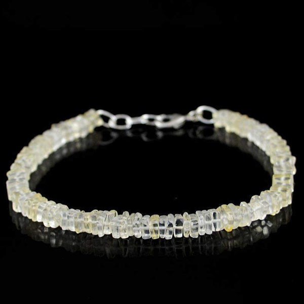 gemsmore:Natural Lemon Quartz Bracelet 54.50 Cts Untreated Beads