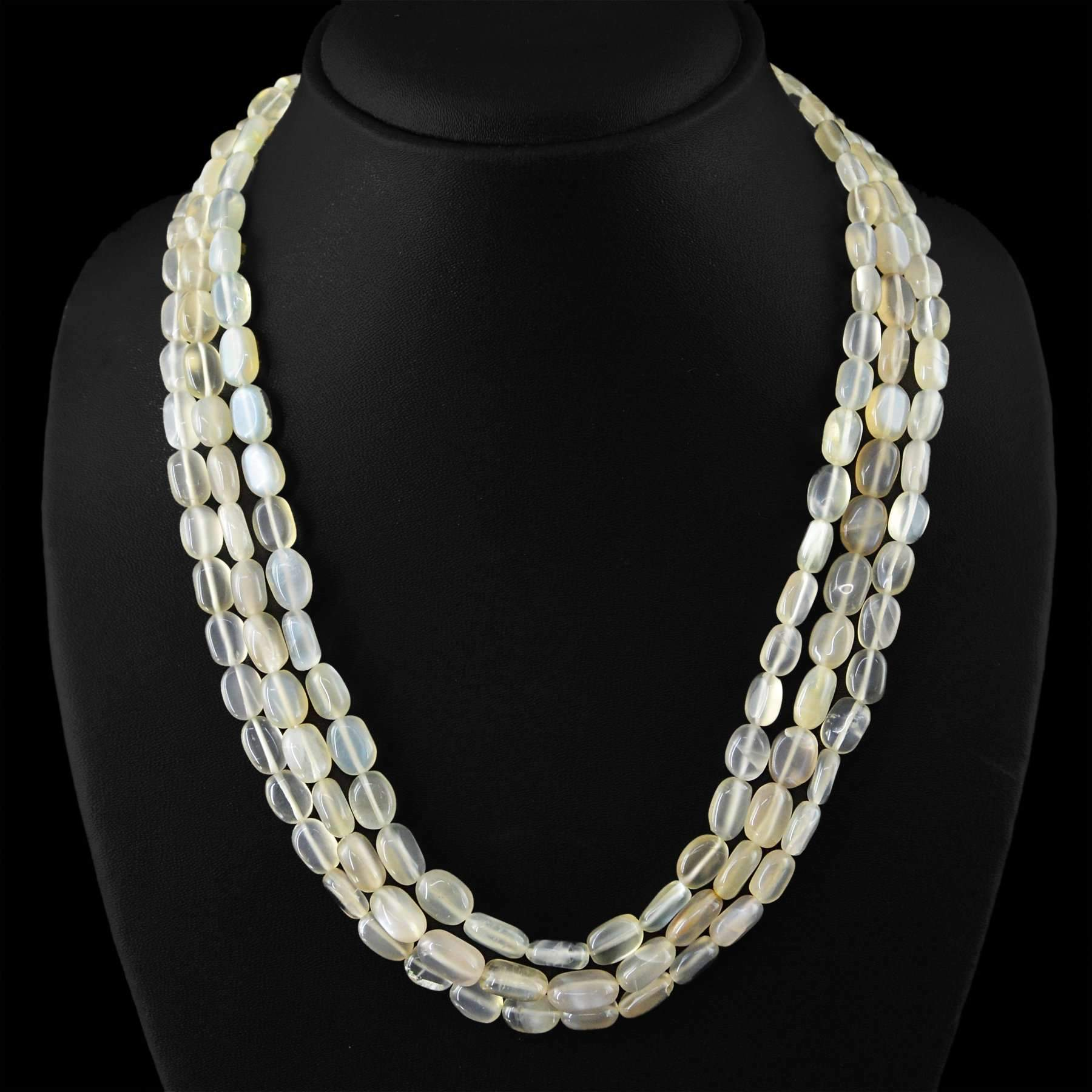 gemsmore:Natural Moonstone Necklace 3 Strand Untreated Oval Shape Beads