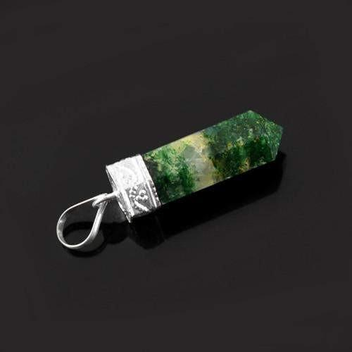 gemsmore:Natural Moss Agate Healing Point Pendant