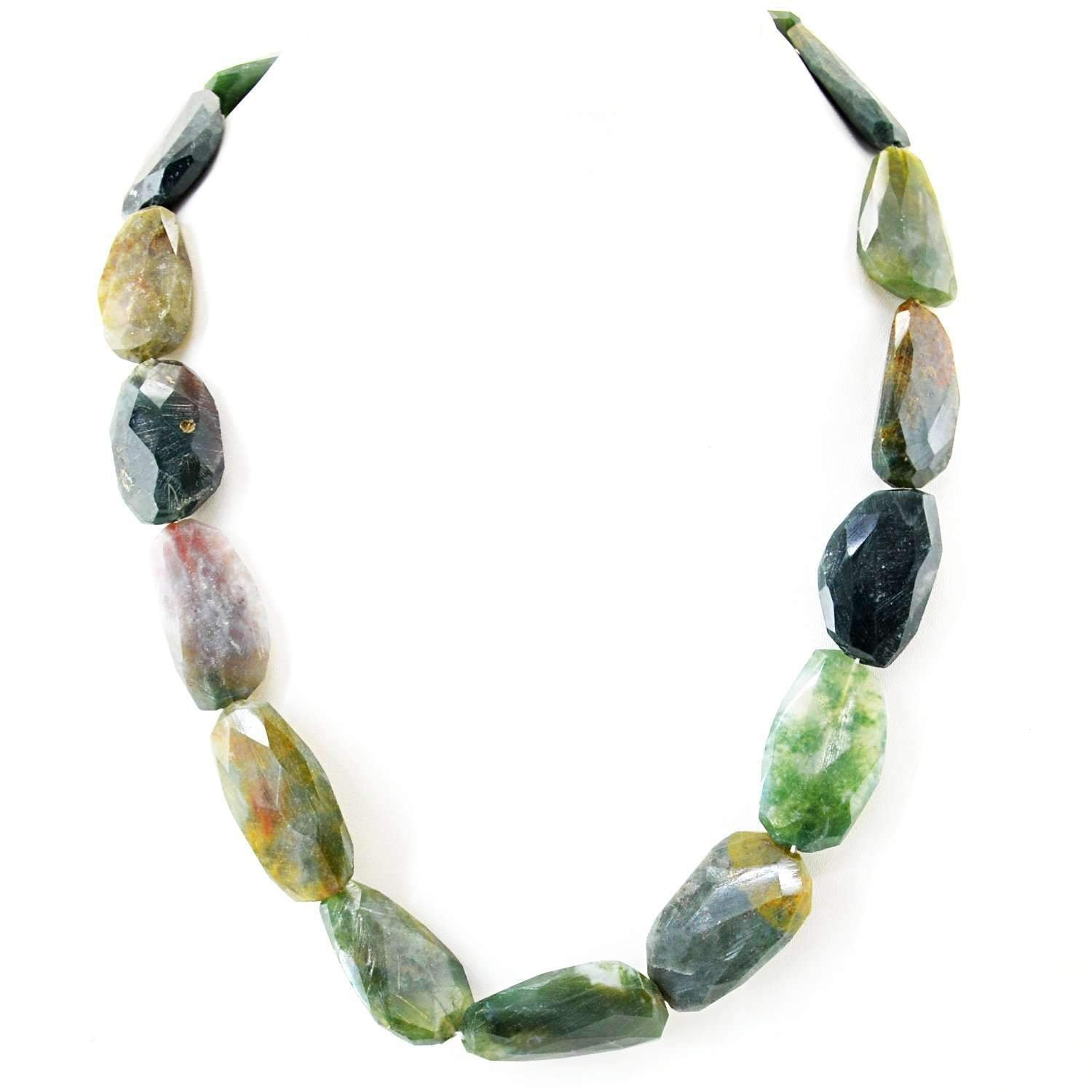 gemsmore:Natural Moss Agate Necklace Untreated Faceted Beads