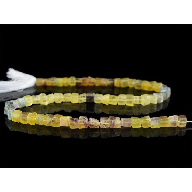 gemsmore:Natural Mulricolor Fluorite Untreated Drilled Beads Strand