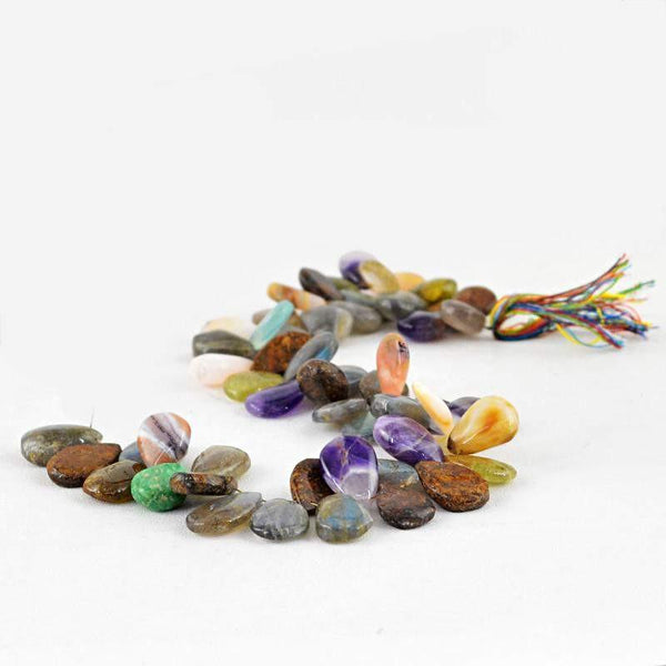 gemsmore:Natural Multi Gemstone Pear Shape Drilled Beads Strand
