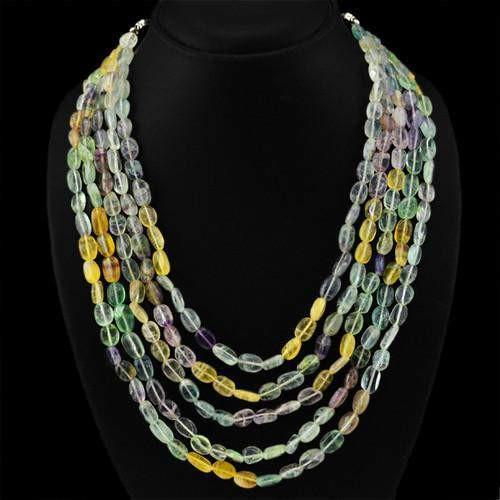 gemsmore:Natural Multicolor Flourite Attractive Beads Necklace