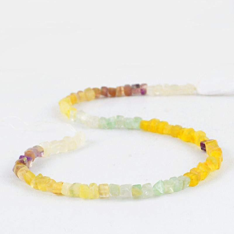 gemsmore:Natural Multicolor Fluorite Beads Strand