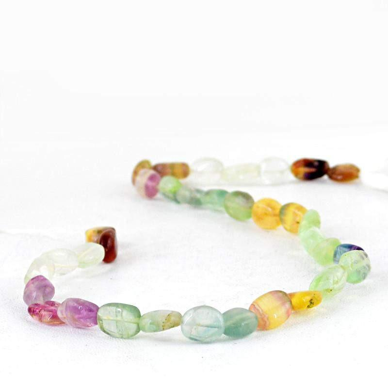 gemsmore:Natural Multicolor Fluorite Drilled Beads Strand