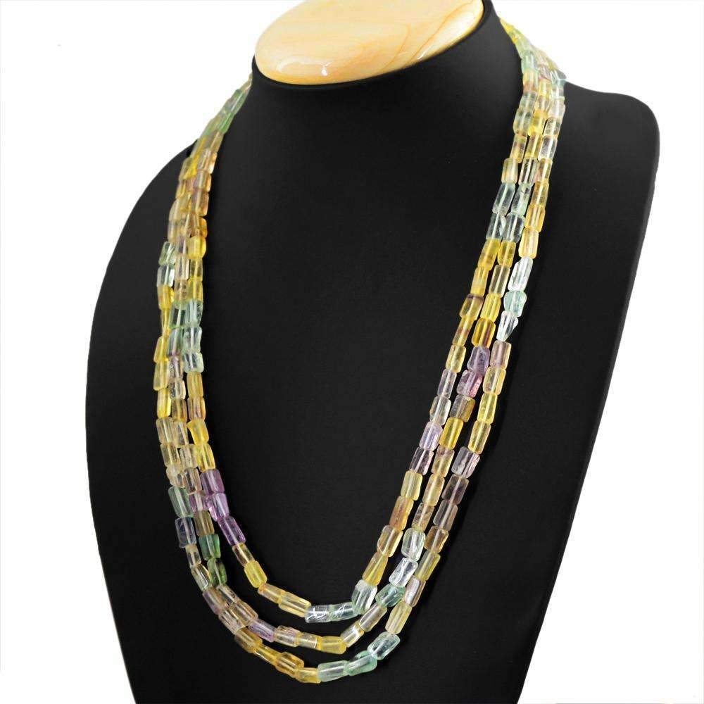 gemsmore:Natural Multicolor Fluorite Necklace 3 Strand Untreated Beads