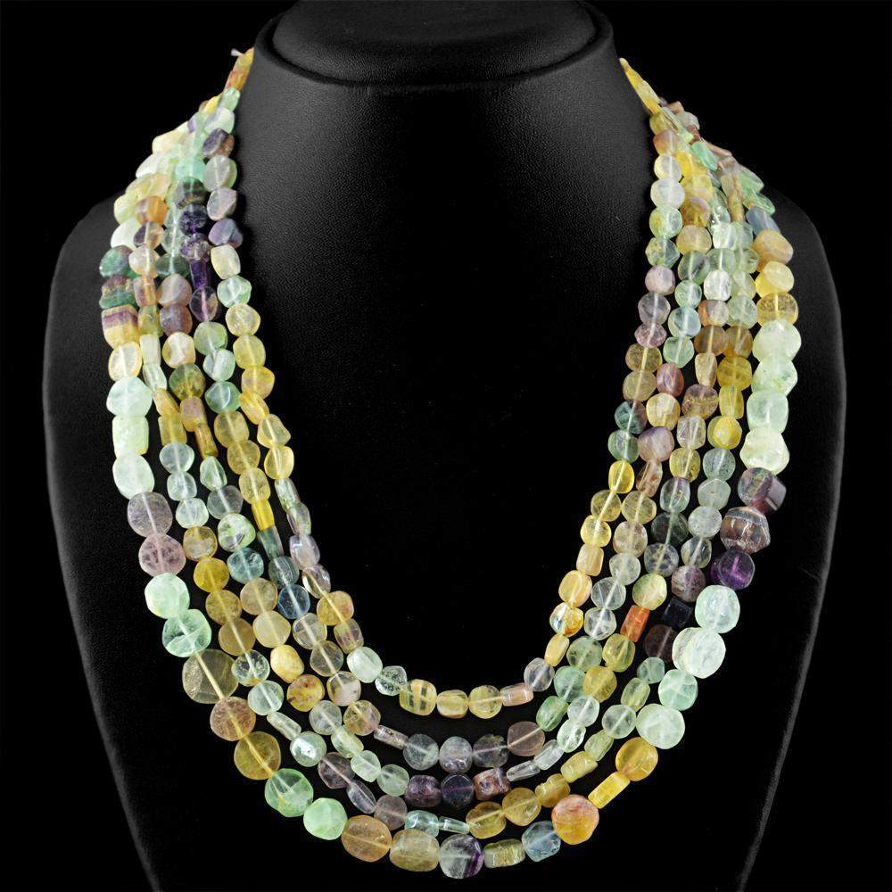 gemsmore:Natural Multicolor Fluorite Necklace 5 Line Round Shape Beads