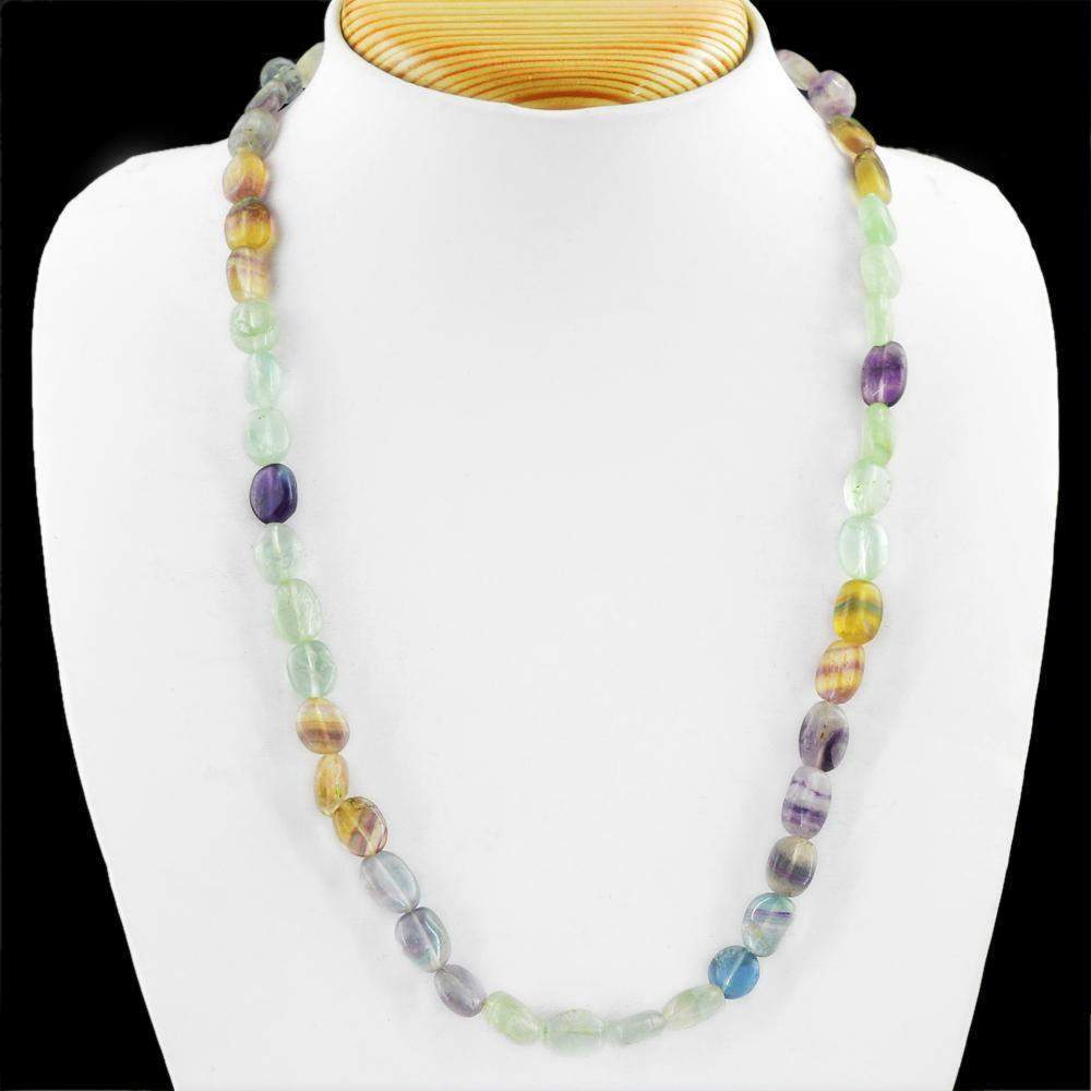 gemsmore:Natural Multicolor Fluorite Necklace Oval Shape Beads
