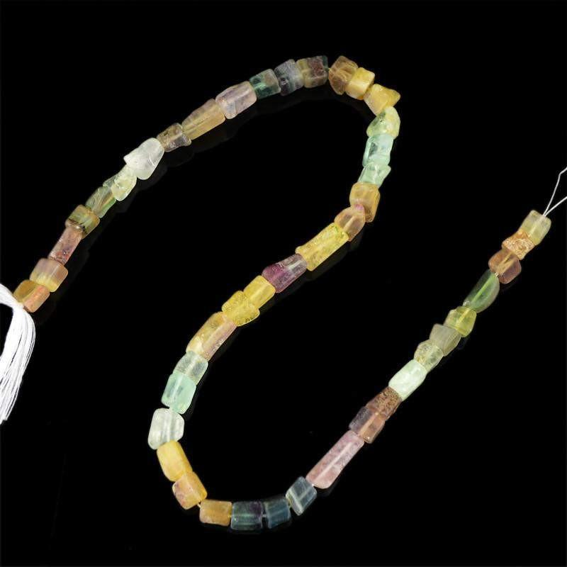 gemsmore:Natural Multicolor Fluorite Unheated Drilled Beads Strand