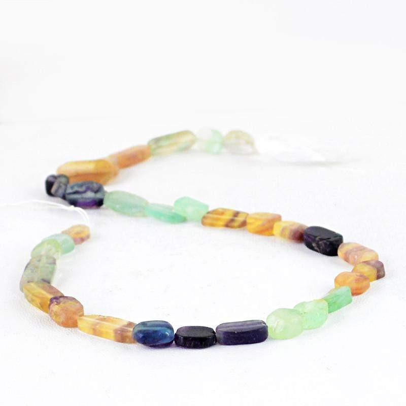 gemsmore:Natural Multicolor Fluorite Untreated Beads Strand