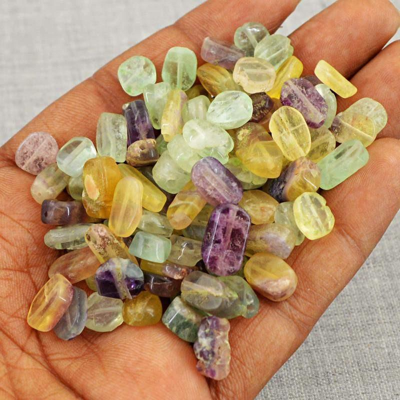 gemsmore:Natural Multicolor Fluorite Untreated Drilled Beads Lot