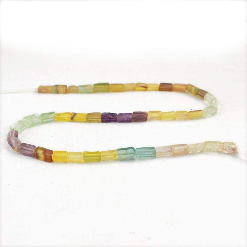 gemsmore:Natural Multicolor Fluorite Untreated Drilled Beads Strand