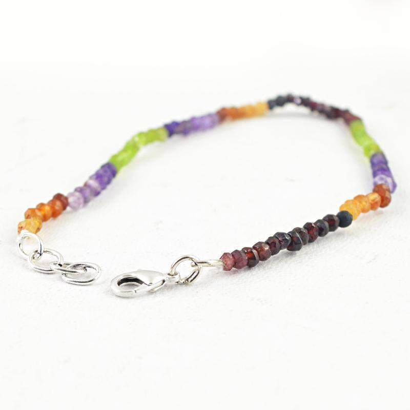 gemsmore:Natural Multicolor Gemstone Bracelet Faceted Round Shape Beads