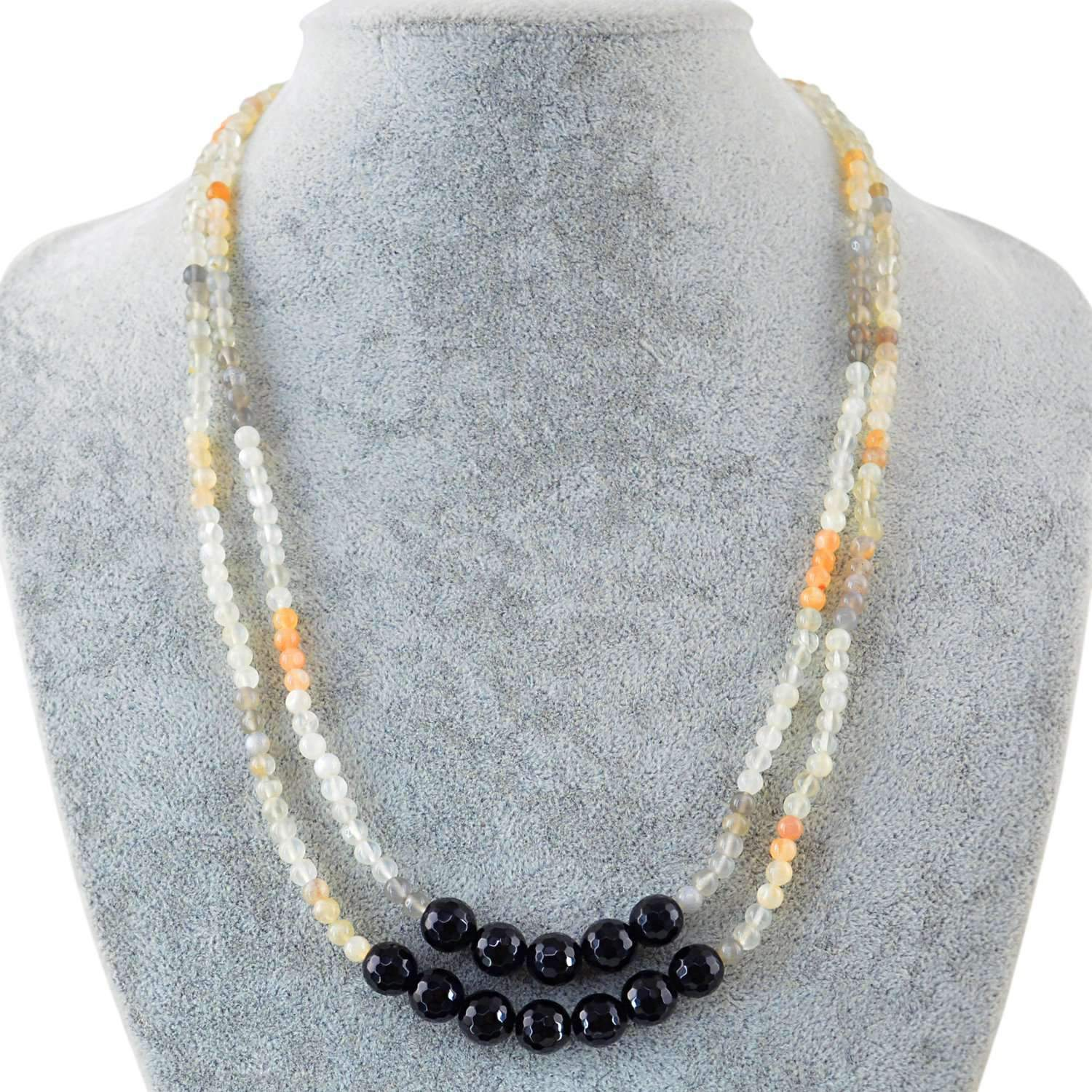 gemsmore:Natural Multicolor Moonstone & Black Spinel Necklace 2 Strand Faceted Beads