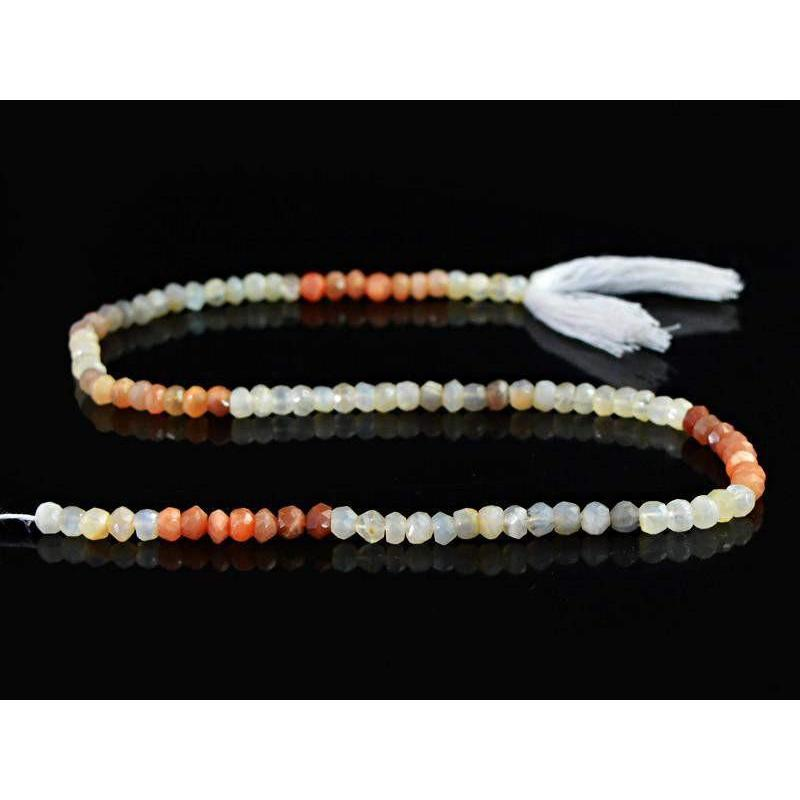 gemsmore:Natural Multicolor Moonstone Unheated Beads Strand