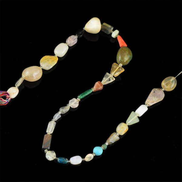 gemsmore:Natural Multicolor Multi Gemstone Beads Strand Untreated Drillled