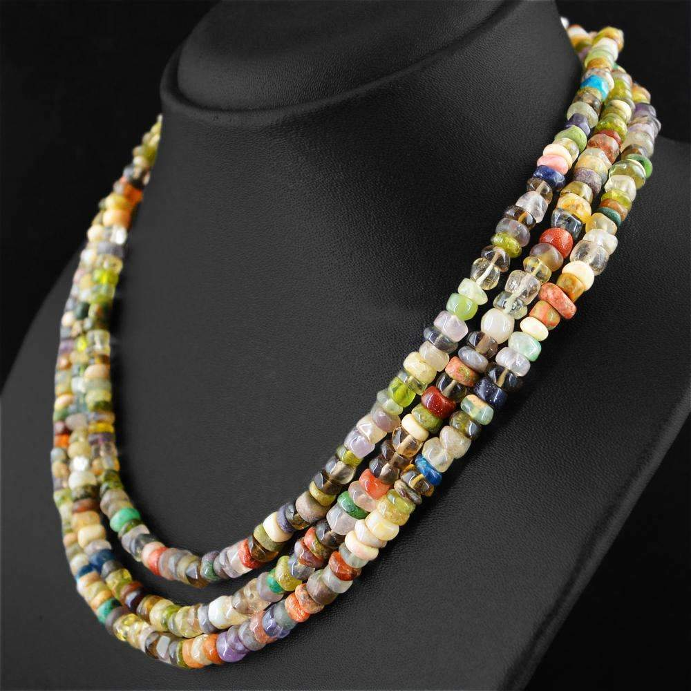 gemsmore:Natural Multicolor Multi Gemstone Necklace 3 Line Round Shape Beads
