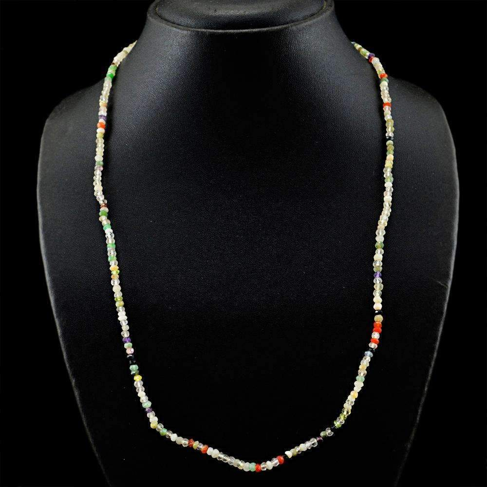 gemsmore:Natural Multicolor Multi Gemstone Necklace Round Cut Beads
