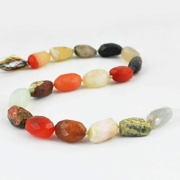 gemsmore:Natural Multicolor Multi Gemstone Strand Faceted Drilled Beads