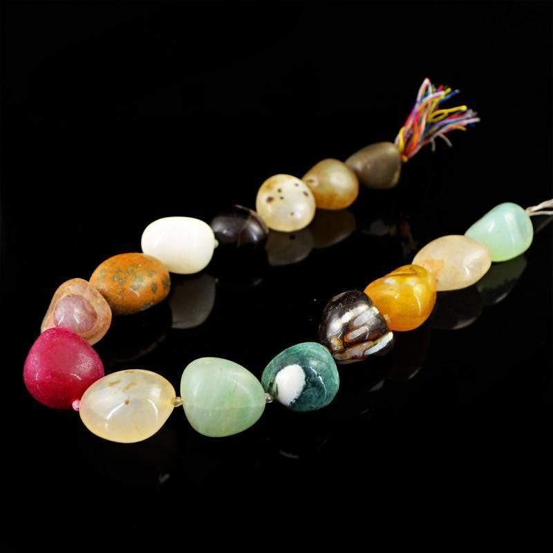 gemsmore:Natural Multicolor Multi Gemstone Unheated Drilled Beads Strand