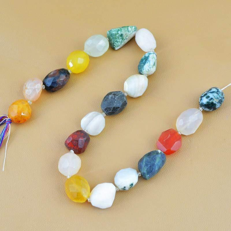 gemsmore:Natural Multicolor Onyx & Agate Drilled Beads Strand