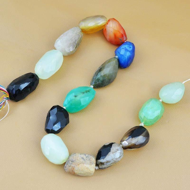 gemsmore:Natural Multicolor Onyx & Agate Faceted Beads Strand