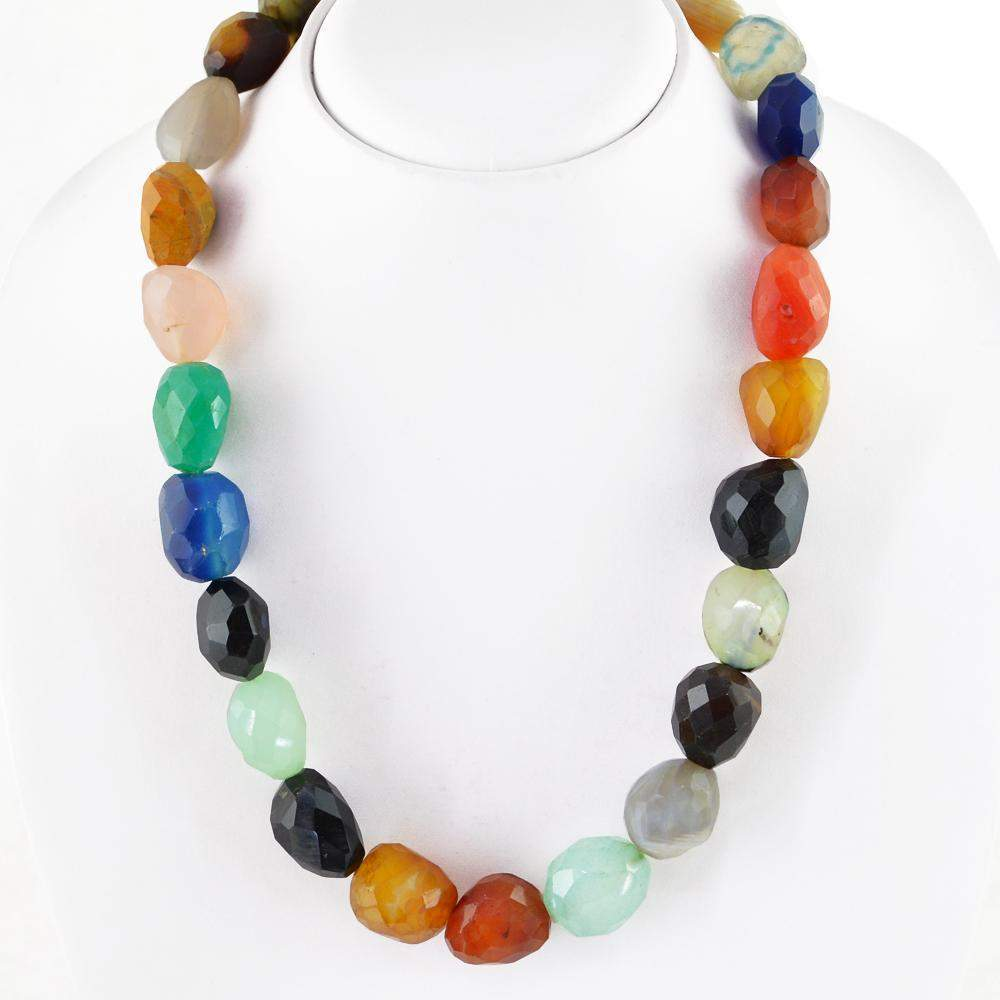 gemsmore:Natural Multicolor Onyx Necklace 20 Inches Long Faceted Untreated Beads