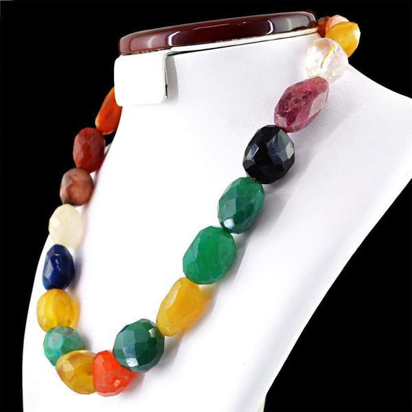 gemsmore:Natural Multicolor Onyx Necklace Natural Faceted Beads - Best Offer