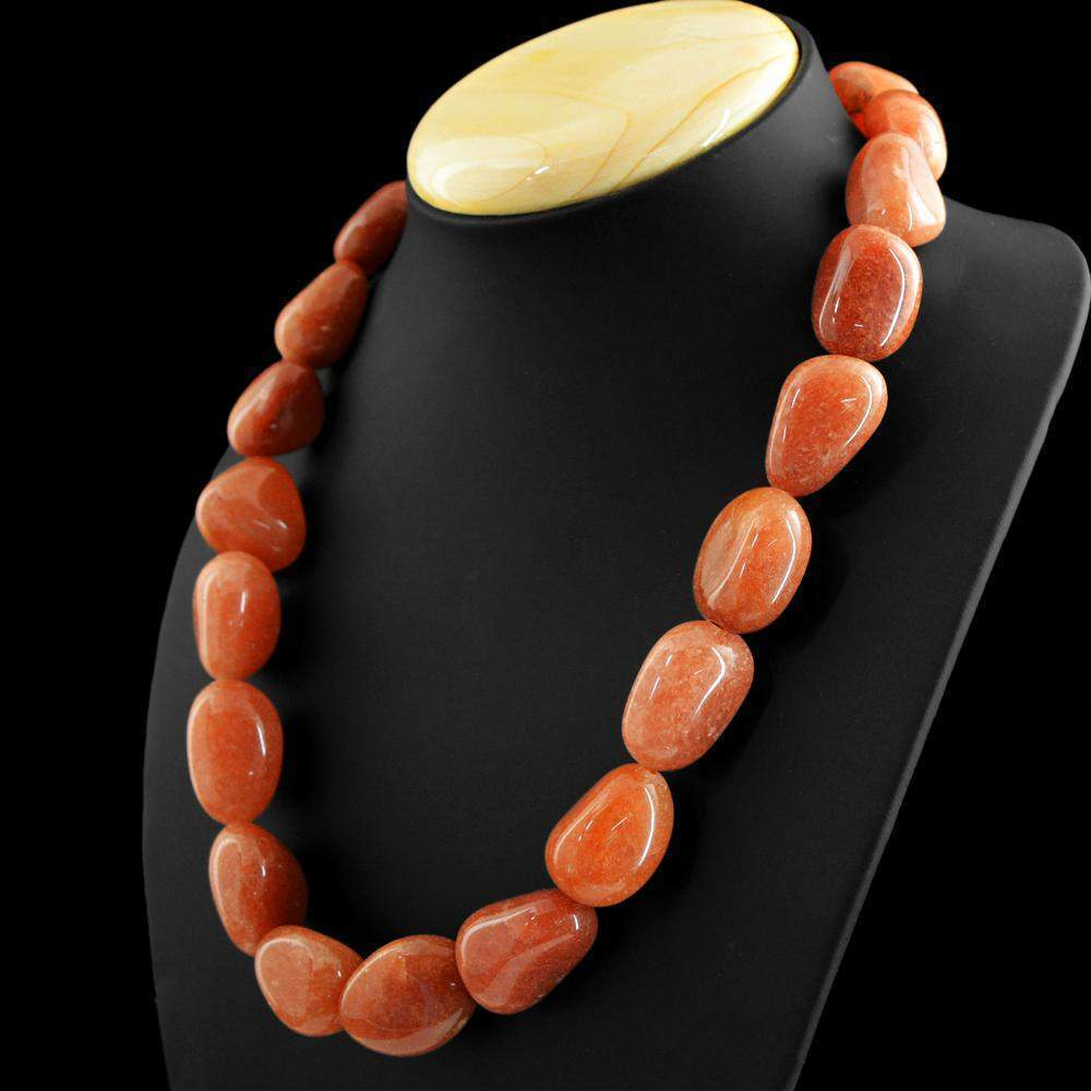 gemsmore:Natural Orange Agate Necklace Single Strand Untreated Beads