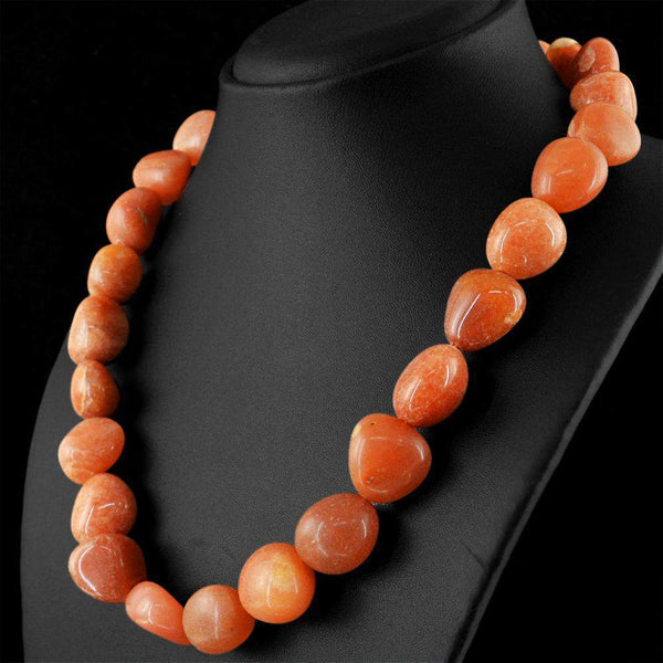 gemsmore:Natural Orange Agate Necklace Untreated Beads