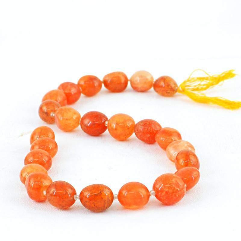 gemsmore:Natural Orange Aventurine Drilled Beads Strand