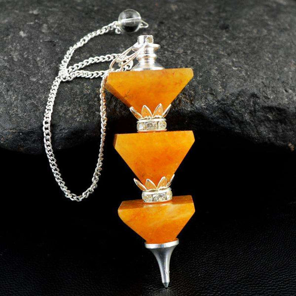 gemsmore:Natural Orange Aventurine Healing Pyramid Pendulum
