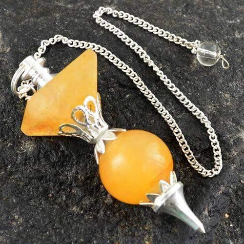 gemsmore:Natural Orange Aventurine Pendulum
