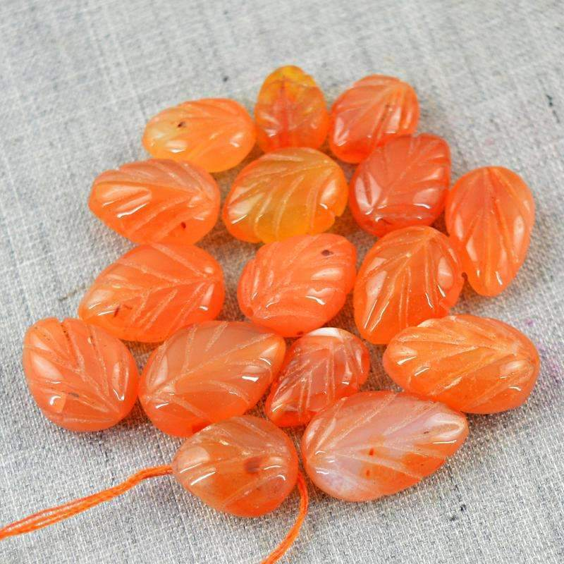 Flower Carved Carnelian Drilled Beads Lot