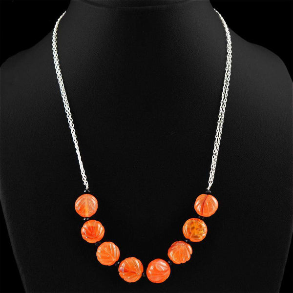 gemsmore:Natural Orange Carnelian & Black Spinel Necklace Carved Beads