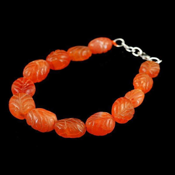 gemsmore:Natural Orange Carnelian Bracelet Oval Shape Carved Beads