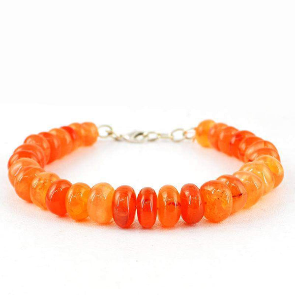 gemsmore:Natural Orange Carnelian Bracelet Round Shape Beads