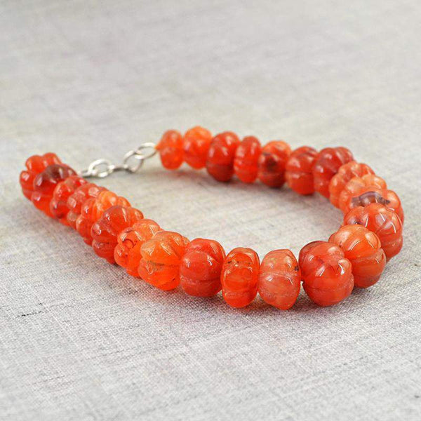 gemsmore:Natural Orange Carnelian Bracelet Round Shape Carved Beads