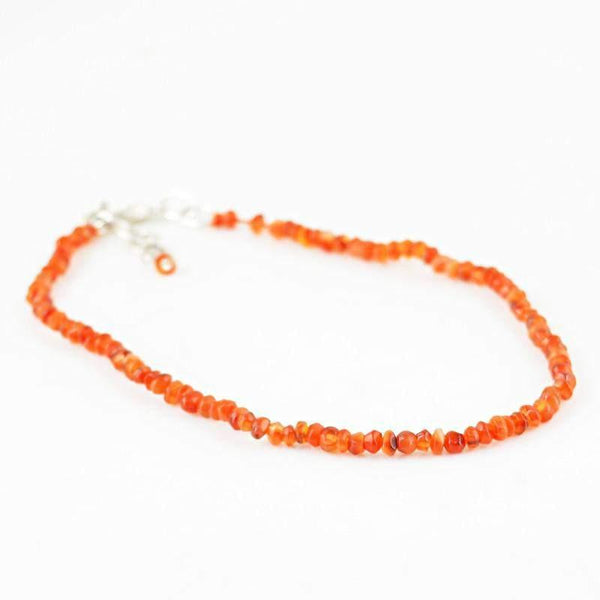 gemsmore:Natural Orange Carnelian Bracelet Round Shape Faceted Beads