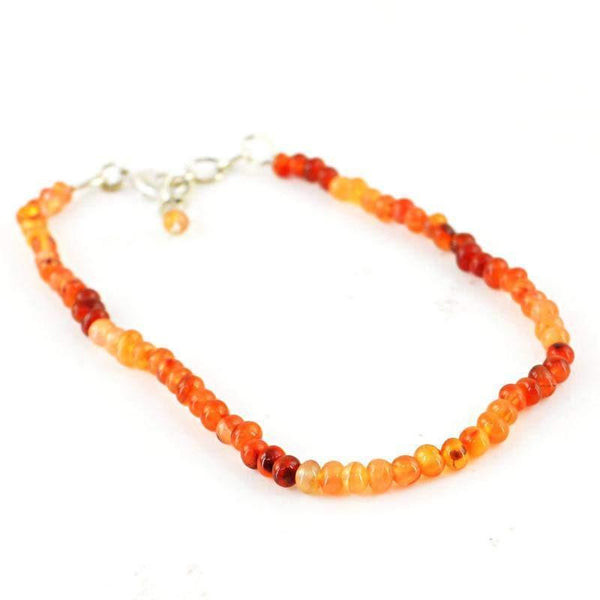 gemsmore:Natural Orange Carnelian Bracelet Unheated Round Shape Beads
